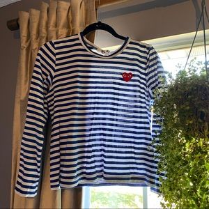 Authentic CDG PLAY navy striped long sleeve tee